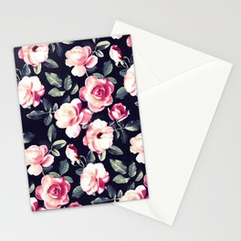 Moody Vintage Rose Chintz in Peach Pink Stationery Cards