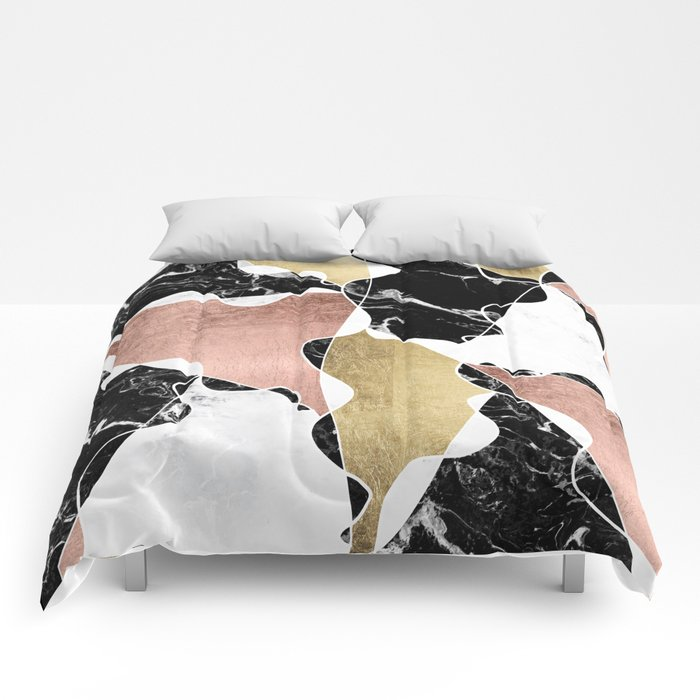 Modern white black marble rose gold foil color block for Black and white marble bedding