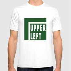 Upperleft Green MEDIUM White Mens Fitted Tee