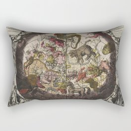 Keller's Harmonia Macrocosmica - Northern Celestial and Terrestrial Hemispheres 1708 Rectangular Pillow