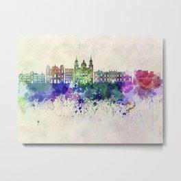 Salzburg skyline in watercolor background Metal Print