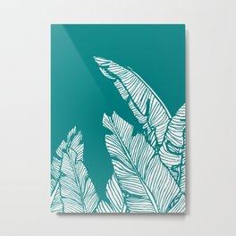 Banana Leaves on Teal Metal Print