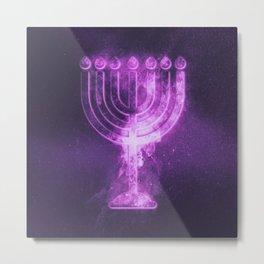 Hanukkah menorah symbol. Menorah symbol of Judaism. Abstract night sky background. Metal Print