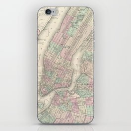 Vintage Map of NYC and Brooklyn (1865) iPhone Skin