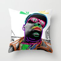 biggie smalls Throw Pillows featuring Biggie by Kibwe Maono