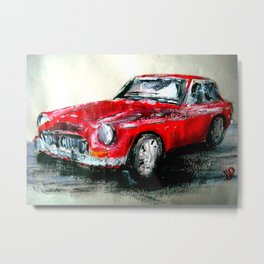 MG 1969 Classic Car Acrylics On Paper Metal Print