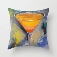 martini Throw Pillows featuring Mango Martini by Michael Creese