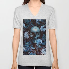 Skull and Flowers Unisex V-Neck