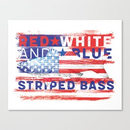 Fishing American Flag Striped Bass Tee Canvas Print
