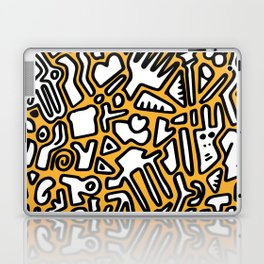 black doodle on orange Laptop & iPad Skin