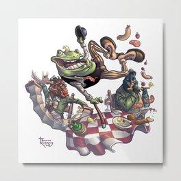Frog on The Table Metal Print