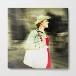 She is proud with her straw hat Metal Print