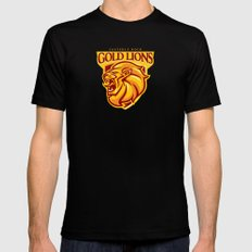 Casterly Rock Gold Lions Black Mens Fitted Tee X-LARGE