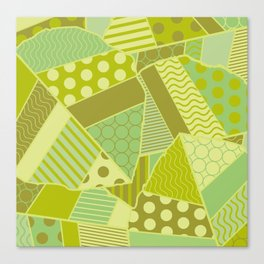 Graphic Leaf Patchwork (Spring Green Bold Colors) Canvas Print