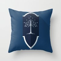 gondor Throw Pillows featuring Shield of Gondor by DWatson