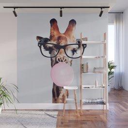 Giraffe Wearing Glasses blowing Bubblegum Wall Mural