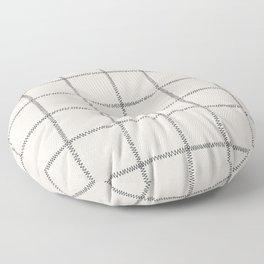 French Cream Linen Check Floor Pillow