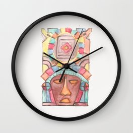 Mexican watercolor mask Wall Clock