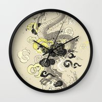 dragon Wall Clocks featuring Dragon by Supernova Remnant