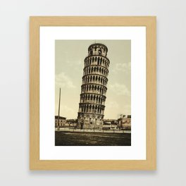 Vintage Leaning Tower of Pisa Photograph (1900) Framed Art Print