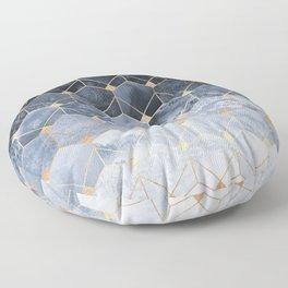 Blue Hexagons And Diamonds Floor Pillow