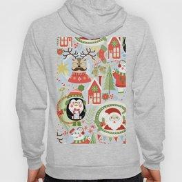 Holiday Christmas Winter Wonderland with Hipster Santa Reindeer Polar Bears and Penguins Hoody