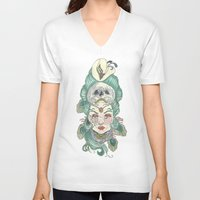 anxiety V-neck T-shirts featuring Anxiety by Melissa Smets