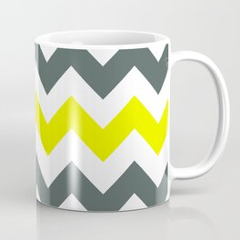 Chevron Pattern In Limelight Yellow Grey and White Coffee Mug