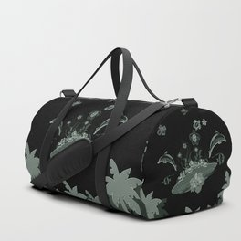 Surfboard with dolphin, flowers, palm and turtle Duffle Bag