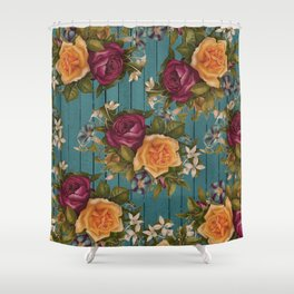 Vintage green wood coral burgundy roses floral Shower Curtain