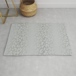 White Silver Leopard Print Rug