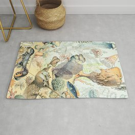 Ocean by Adolphe Millot // XL 19th Century Starfish Jellyfish Coral Reef Science Textbook Artwork Rug