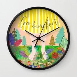 GO BAREFOOT Wall Clock