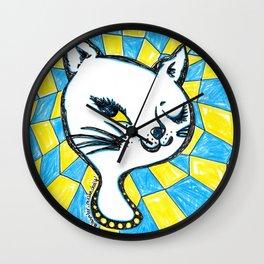 Winking Kitty Blue & Yellow Background Wall Clock