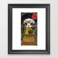 Frida The Catrina And The Devil - Dia De Los Muertos Mixed Media Art Framed Art Print