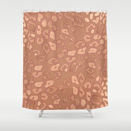 RoseGold: Leopard + Brown Shower Curtain