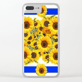 CLASSIC WHITE & BLUE SUNFLOWERS ART Clear iPhone Case