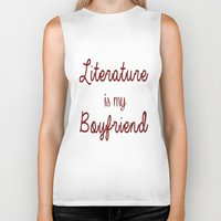 literature Biker Tanks featuring literature is my boyfriend red by Beautiful Bibliophile's Boutique