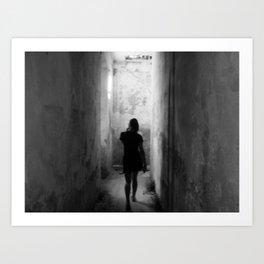 girl blured silhouette  Art Print