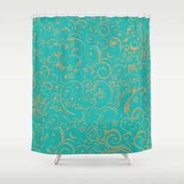 Gold and turquoise Shower Curtain