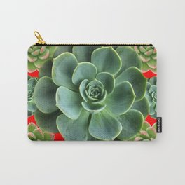 GREY-GREEN  SUCCULENTS GARDEN  IN RED ART Carry-All Pouch