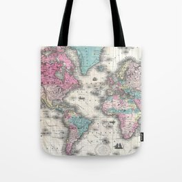 Vintage Map of The World (1852) Tote Bag