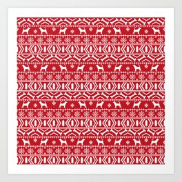 Bloodhound fair isle christmas sweater red and white minimal dog silhouette holiday gifts Art Print