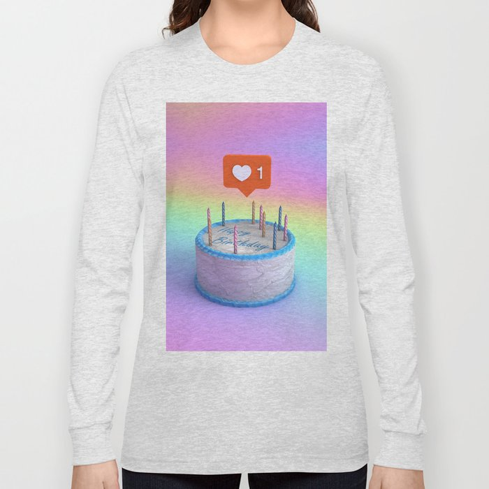 Happy Birthday Cake Long Sleeve T Shirt By Nickjaykdesign Society6