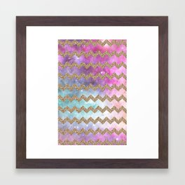 gold glitter galaxy chevron Framed Art Print