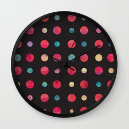 Planets Pattern Black Universe Wall Clock