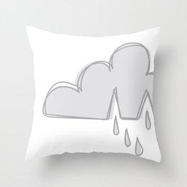 Weather Rain Cloud Grey & White Throw Pillow