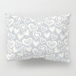 MESSY HEARTS: IVORY GRAY Pillow Sham
