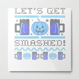 Halloween ASCII Pumpkin Lets Get Smashed Metal Print