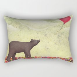 the bear and the heart-shaped balloon Rectangular Pillow